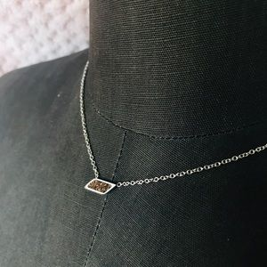 Small brown Crystal stone necklace